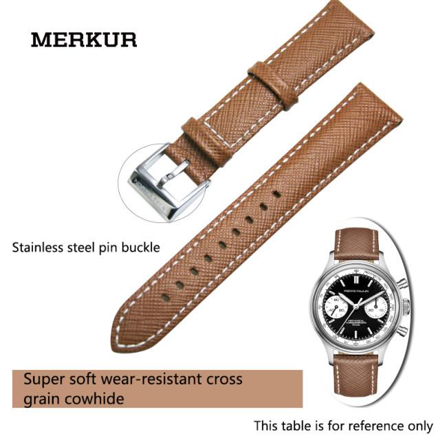 MERKUR Waterproof Cattle 18MM Leather Watchband Accessories Men and Women Needle Buckle Style Cross Retro Yellow