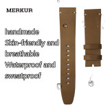 MERKUR Waterproof Skin-friendly Breathable, Retro Oil Wax Universal Craft Leather Watchband Watch Accessories