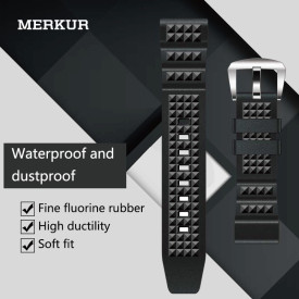 MERKUR Diving 20MM 22MM Watch With Black Waffle Fluorine Rubber Men's and Women's Universal Waterproof Strap Accessories