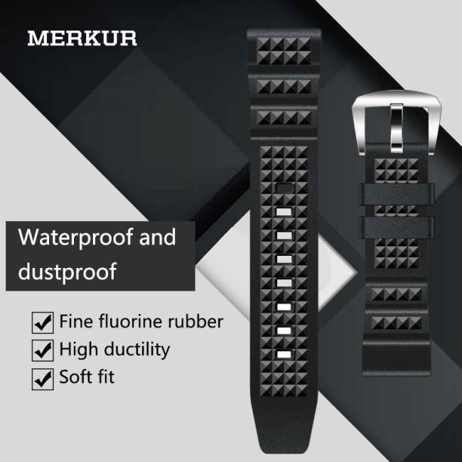 MERKUR Diving 20MM 22MM Watch With Black Waffle Fluorine Rubber Men's and Women's Universal Waterproof Strap Accessories