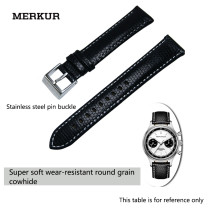 MERKUR Waterproof 18MM Leather Watchband Cowhide Leather Watchband Watch Accessories For Both Men And Women