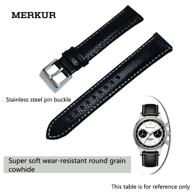 MERKUR Waterproof 18MM Leather Watchband Cowhide Leather Watchband Watch Accessories For Both Men And Women
