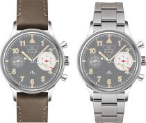 MERKUR First Colabs product Flieger watch with Super luminova Vintage Pilot Big Eye Chronograph Mechanical