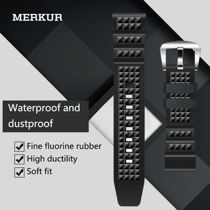 MERKUR Diving 20MM Watch With Black Waffle Fluorine Rubber Men's and Women's Universal Waterproof Strap Accessories