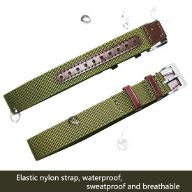 18MM Pilot Green Camouflage Waterproof Skin-friendly Breathable, Retro Craft Nylon Watchband Watch Accessories