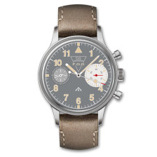 MERKUR First Colabs product Flieger watch with Super luminova Vintage Pilot Big Eye Chronograph Mechanical