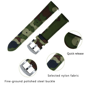 20MM Camouflage Waterproof Skin-friendly Breathable, Retro Craft Nylon Watchband Watch Accessories