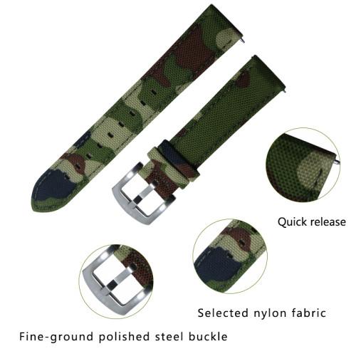 20MM Camouflage Waterproof Skin-friendly Breathable, Retro Craft Nylon Watchband Watch Accessories