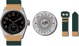 MERKUR Made China 304 Pilot Watch Mechanical Mens Subsecond Hand Watch WIth Yellow Oil Lume