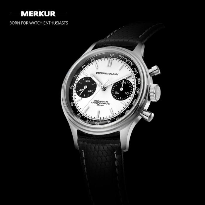 PIERRE PAULIN  Retro 70's Vintage Panda Style Chronograph Mechanical Men's Complicated Acrylic 38MM Small Luxury Classic Wrist Watch