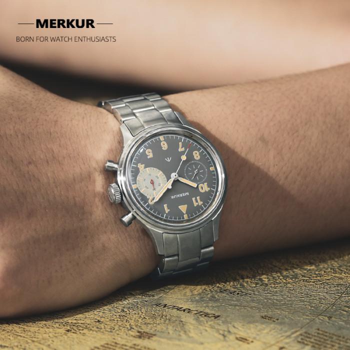 MERKUR First Colabs product Flieger watch with Super luminova Vintage Pilot Big Eye Chronograph Mechanical Type20 TypeXX