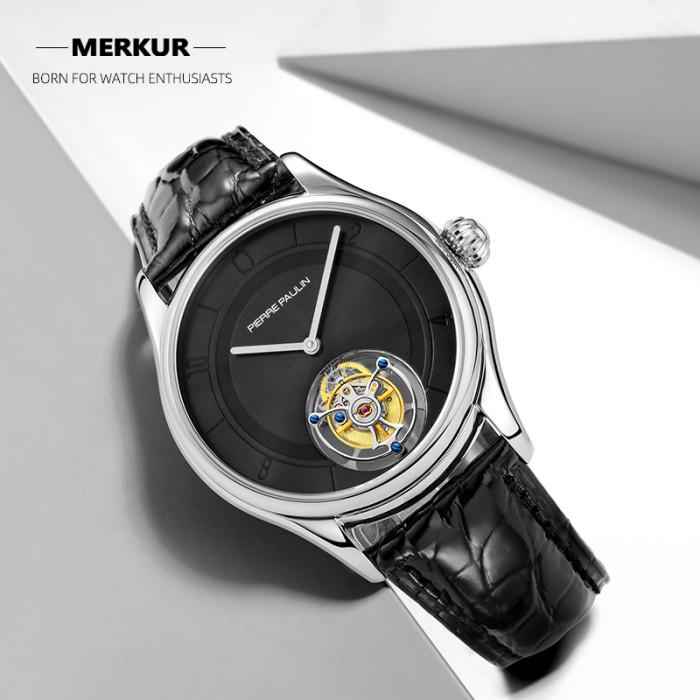 Modern Style Flying Tourbillon PIERRE PAULIN Genuine Mechanical Dress Luxury Mens Watch Seagull Complicated Luxury