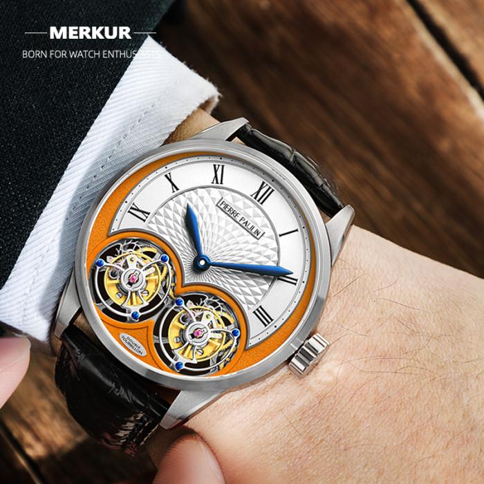 MERKUR genuine Double Tourbillon Manual Mechanical Watch Men's Luxury Formal Business Men's A Certified Millionaire Watch\