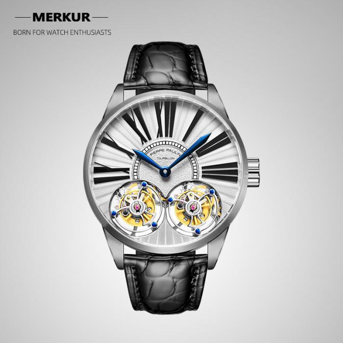 MERKUR Luxury True Double Tourbillon Manual Mechanical Watch Business Classic Men's Watch Sapphire All Steel