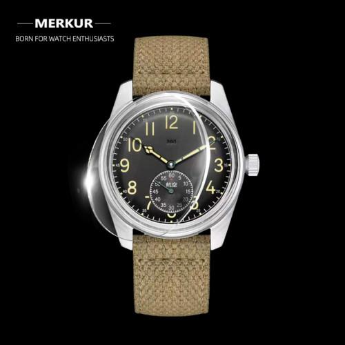 MERKUR Made China 304 Pilot Watch Mechanical Mens Subsecond Hand Watch retro oil yellow luminous handwind