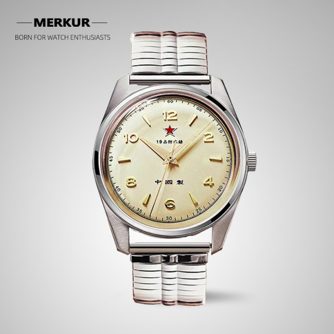 Red Army First Chinese Watch -The Wuxing Homage Handwinding Mechanical Retro Dress Watch Seagull 1963 Style  Mineral Glass Stainless Steel Band 2