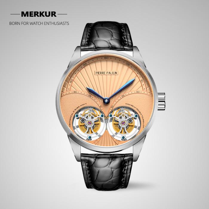 MERKUR genuine Double Tourbillon Manual Mechanical Watch Men's Luxury Formal Business