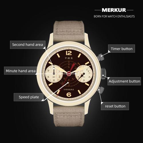 Chinese original MERKUR desert limited edition pilot manual mechanical watch men's chronograph Retro