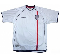 2002 England Home White Retro Soccer Jersey