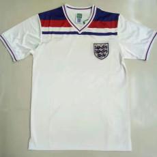 1982 England Home White Retro Soccer Jersey