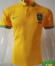 20-21 Brazil Home Yellow Polo Short Jersey