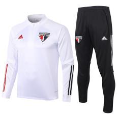 2020 Sao Paulo white Half Pull Sweater Tracksuit