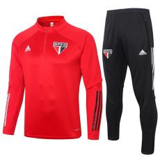 2020 Sao Paulo Red Half Pull Sweater Tracksuit