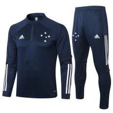 2020 Cruzeiro Dark Blue Half Pull Sweater Tracksuit