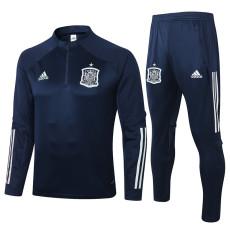 2020 Spain Blue Half Pull Sweater Tracksuit
