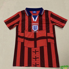 1998 England Away Red  Retro Soccer Jersey