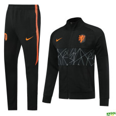 20-21 Netherlands Black Jacket Tracksuit