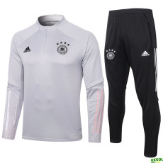 2020 Germany Light Grey Half Pull Sweater Tracksuit