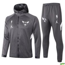 2020 NBA Charlotte Hornets Grey Full Zip hoodie Tracksuit