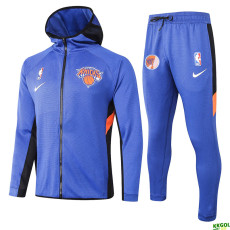 2020 NBA New York Knicks Blue Full Zip hoodie Tracksuit