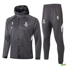 2020 NBA Houston Rockets Grey Full Zip hoodie Tracksuit