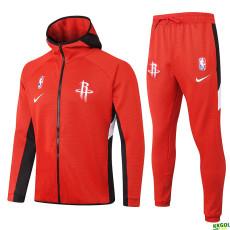 2020 NBA Houston Rockets Red Full Zip hoodie Tracksuit