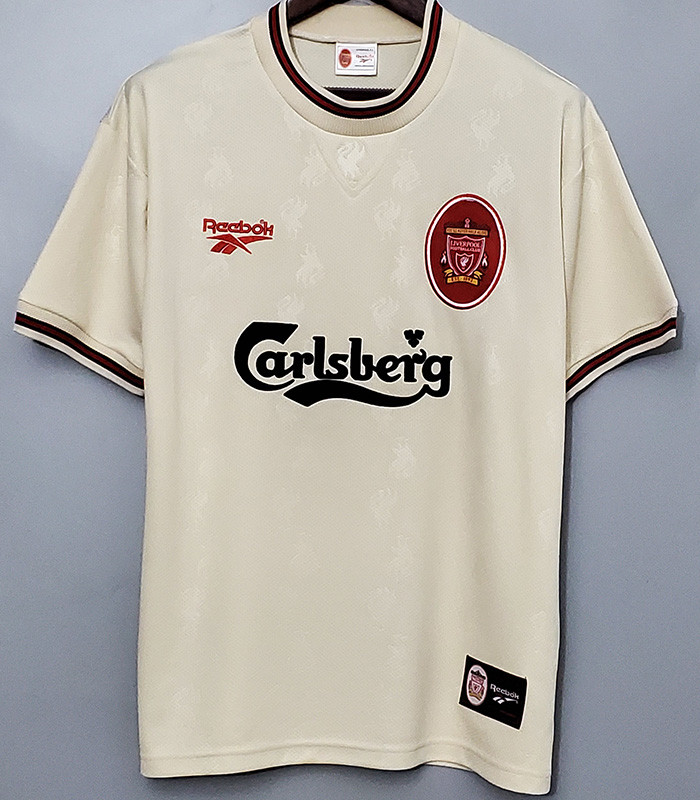 US$ 18 - 1996-1997 Liverpool Away Retro White Soccer Jersey - www.kkgol.com