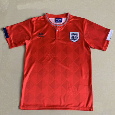 1989 England Away Red Retro Soccer Jersey