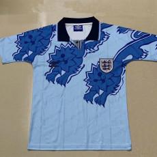 1992 England Away Blue Soccer Jersey