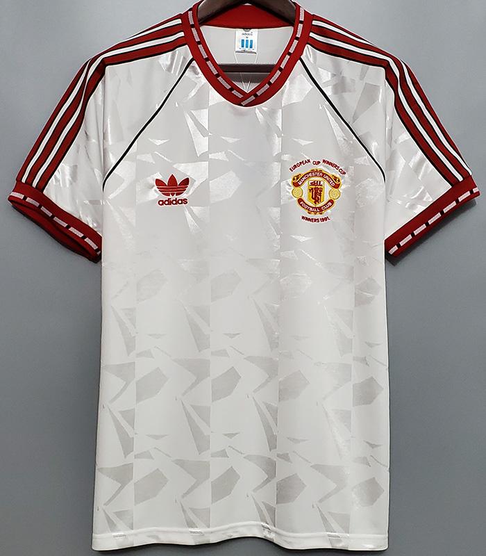 US$ 19.00 - 1991 Man Utd Away White Retro Soccer Jersey - m.kkgol.com