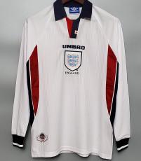 1998 England Home Retro Long Sleeve Soccer Jersey