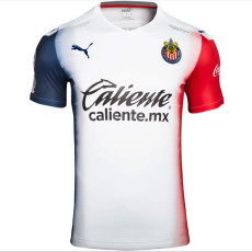 20-21 Chivas Away White And Blue Fans Soccer Jersey