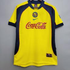 2001-2002 Club America  Home Yellow Retro Soccer Jersey