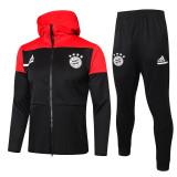 20-21 Bayern  Red  Black Hoodie Jacket Tracksuit