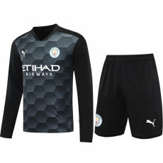 20-21 Man City Black Goalkeeper Long Sleeve Soccer Jersey(Full Sets )
