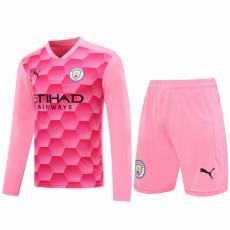 20-21 Man City Pink Goalkeeper Long Sleeve Soccer Jersey(Full Sets )