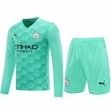 20-21 Man City Green Goalkeeper Long Sleeve Soccer Jersey(Full Sets )