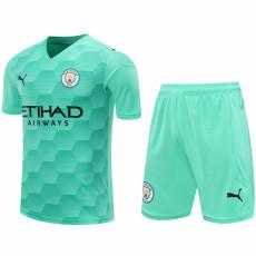 20-21 Man City Brilliant Green Goalkeeper Soccer Jersey(Full Sets )