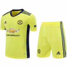 20-21 Man Utd Yellow Goalkeeper Soccer Jersey(Full Sets)