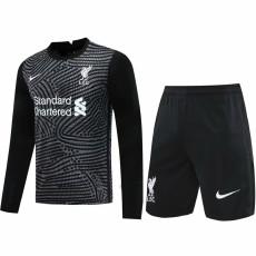 20-21 LIV Black Goalkeeper Long Sleeve Soccer Jersey(Full Sets)